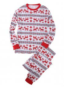 Christmas Gift Floral Animal Print Parents-child Pajamas Suit