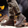 Water-resistant Genuine Leather Fleece Lined Hiking Boots - DEEP BROWN
