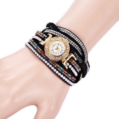 Fashion Two-loop Rhinestone Strap Lady Quartz Watch Bracelet