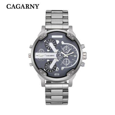 Cagarny 6820 Dual Movt Silver Case Men Quartz Watch