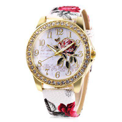 Fashion Rhinestone Scale Rose Pattern Dial Lady Quartz Watch