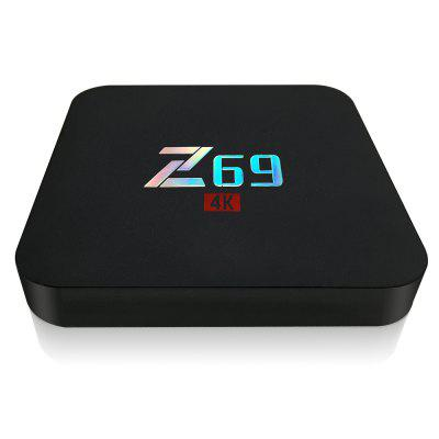 Z69 TV BoxTV Box<br>Z69 TV Box<br><br>5G WiFi: No<br>Antenna: No<br>Audio format: WAV, FLAC, DTS, DDP, APE, AAC, AC3, WMA, HD, OGG, TrueHD, MP3<br>Bluetooth: Bluetooth4.0<br>Camera: Without<br>Color: Black<br>Core: Quad Core<br>CPU: Amlogic S905X<br>Decoder Format: H.265, H.264<br>DVD Support: No<br>GPU: Mali-450<br>HDMI Version: 2.0<br>Interface: DC Power Port, USB2.0, TF card, SPDIF, RJ45, OTG<br>Language: Multi-language<br>Max. Extended Capacity: 64G<br>Model: Z69<br>Other Functions: Airplay<br>Package Contents: 1 x Z69 TV Box, 1 x Remote Control, 1 x HDMI Cable, 1 x Power Adapter, 1 x English Manual<br>Package size (L x W x H): 20.00 x 12.00 x 18.00 cm / 7.87 x 4.72 x 7.09 inches<br>Package weight: 0.4500 kg<br>Photo Format: GIF, JPEG, PNG, TIFF, BMP<br>Power Consumption.: 0.5-7W<br>Power Supply: Charge Adapter<br>Power Type: External Power Adapter Mode<br>Processor: ARM Cortex A53<br>Product size (L x W x H): 10.00 x 10.50 x 15.00 cm / 3.94 x 4.13 x 5.91 inches<br>Product weight: 0.1650 kg<br>RAM: 2G<br>RAM Type: DDR3<br>RJ45 Port Speed: 100M<br>ROM: 16G<br>System: Android 6.0<br>System Bit: 64Bit<br>Type: TV Box<br>Video format: H.265, VP9-10 Profile-2, VC-1, RMVB, RM, MPEG4, AVC, MPEG2, MPEG1, 4K<br>WiFi Chip: RTL8723BS