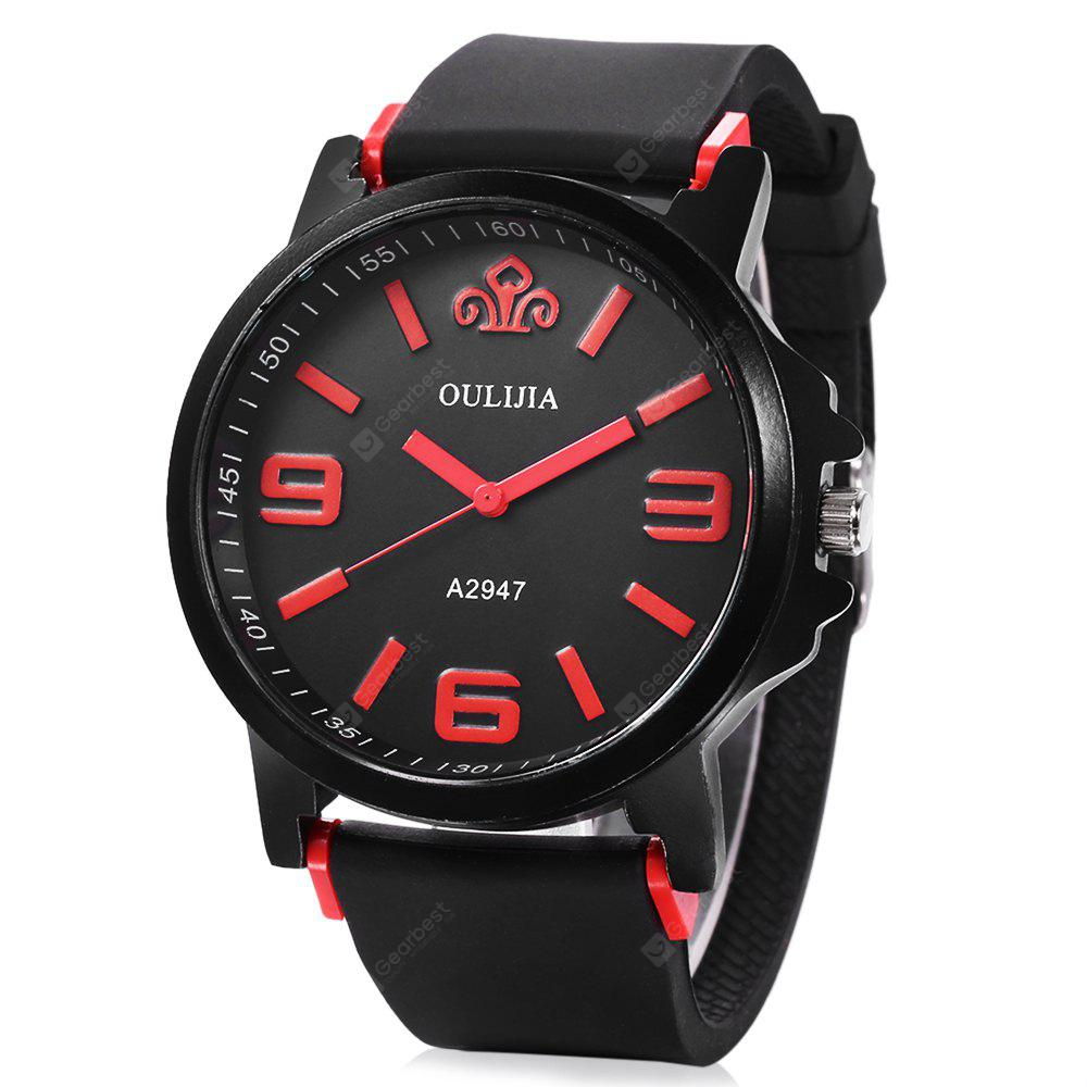 OULIJIA A2947 Male Quartz Rubber Band Watch MALE RED
