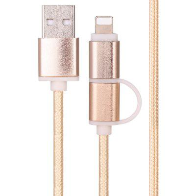 Micro USB Charge Data Sync Woven Cable with 8Pin Adaptor