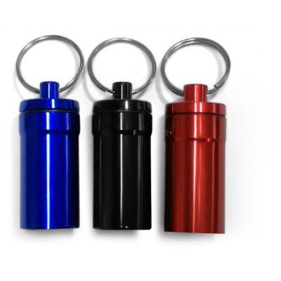 M Size Air Tight Portable Aluminum Alloy Pill Container Drug Holder with Keychain