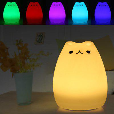 Cartoon Cat LED Night LightNight Lights<br>Cartoon Cat LED Night Light<br><br>Battery Type: Built-in 1200mAh Li-ion battery<br>Feature: Rechargeable<br>Input Voltage: DC 5V<br>Material: ABS + Silicone<br>Numbers of LED: 8<br>Optional Color: White<br>Optional Light Color: RGB<br>Package Contents: 1 x LED Night Light, 1 x USB Cable<br>Package size (L x W x H): 16.30 x 13.20 x 13.20 cm / 6.42 x 5.2 x 5.2 inches<br>Package weight: 0.311 kg<br>Power Supply: Battery<br>Product size (L x W x H): 15.30 x 12.20 x 12.20 cm / 6.02 x 4.8 x 4.8 inches<br>Product weight: 0.202 kg<br>Type: Night Light