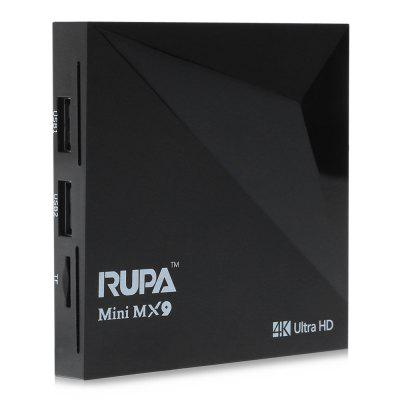 RUPA Mini MX9 TV BoxTV Box<br>RUPA Mini MX9 TV Box<br><br>5G WiFi: No<br>Audio format: APE, AC3, WAV, WMA, OGG, MP3, FLAC, DTS, AAC<br>Brand: RUPA<br>Color: Black<br>Core: Quad Core<br>CPU: RK3229<br>Decoder Format: H.265, H.264<br>External Subtitle Supported: No<br>HDMI Version: 2.0<br>Interface: TF card, RJ45, HDMI, USB2.0, AV, DC 5V<br>Language: Multi-language<br>Model: Mini MX9<br>Other Functions: 3D Games, 3D Video, DLNA, ISO Files<br>Package Contents: 1 x RUPA Mini MX9 TV Box, 1 x Remote Control, 1 x HDMI Cable, 1 x Power Adapter, 1 x English Manual<br>Package size (L x W x H): 18.00 x 12.00 x 4.50 cm / 7.09 x 4.72 x 1.77 inches<br>Package weight: 0.3400 kg<br>Photo Format: GIF, JPG, TIFF, BMP, JPEG<br>Power Supply: Charge Adapter<br>Power Type: External Power Adapter Mode<br>Product size (L x W x H): 8.40 x 8.40 x 1.50 cm / 3.31 x 3.31 x 0.59 inches<br>Product weight: 0.0890 kg<br>RAM: 1G RAM<br>RAM Type: DDR3<br>ROM: 8G ROM<br>Support 5.1 Surround Sound Output: Yes<br>System: Android 5.1<br>System Bit: 32Bit<br>Type: TV Box<br>Video format: AVS, VP9, VC-1, MPEG2, MPEG1, H.265, 4K, H.264, WMV