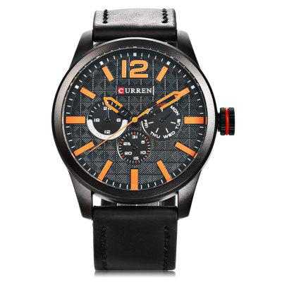 CURREN 8247 Men Quartz WatchMens Watches<br>CURREN 8247 Men Quartz Watch<br><br>Band material: Leather<br>Band size: 27 x 2.4 cm / 10.63 x 0.94 inches<br>Brand: Curren<br>Case material: Alloy<br>Clasp type: Pin buckle<br>Dial size: 4.6 x 4.6 x 1.4 cm / 1.81 x 1.81 x 0.55 inches<br>Display type: Analog<br>Movement type: Quartz watch<br>Package Contents: 1 x CURREN 8247 Men Quartz Watch, 1 x Box<br>Package size (L x W x H): 8.50 x 8.00 x 5.30 cm / 3.35 x 3.15 x 2.09 inches<br>Package weight: 0.2050 kg<br>Product size (L x W x H): 27.00 x 4.60 x 1.40 cm / 10.63 x 1.81 x 0.55 inches<br>Product weight: 0.0750 kg<br>Shape of the dial: Round<br>Watch color: White + Black, Coffee + White, Coffee + Yellow, White + Brown, Black + Orange<br>Watch style: Fashion, Casual<br>Watches categories: Male table<br>Water resistance: Life water resistant<br>Wearable length: 19.5 - 24.3 cm / 7.68 - 9.57 inches