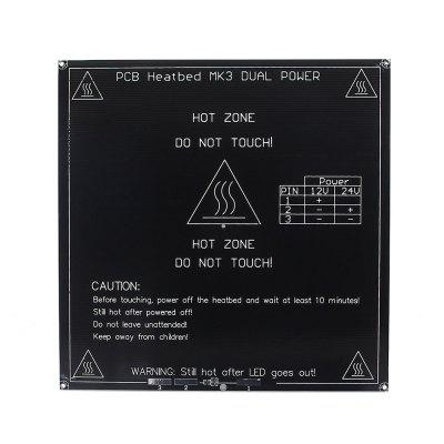 3D Printer 3mm Square PCB Heat Bed MK3 / Reprap Hot Plate Dual Voltage 12 / 24V3D Printer Parts<br>3D Printer 3mm Square PCB Heat Bed MK3 / Reprap Hot Plate Dual Voltage 12 / 24V<br><br>Package Contents: 1 x 3D Printer 3mm Square PCB Heat Bed<br>Package size: 23.00 x 23.00 x 1.50 cm / 9.06 x 9.06 x 0.59 inches<br>Package weight: 0.8170 kg<br>Product size: 21.40 x 21.40 x 0.30 cm / 8.43 x 8.43 x 0.12 inches<br>Product weight: 0.3600 kg<br>Suitable for: Heating/Cooling