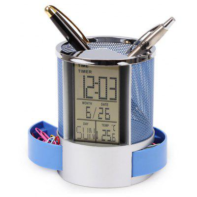 Temperature Calendar Clock Pen Holder Storage Box