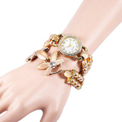 Two-loop Rhinestone Dial Lady Quartz Watch Pearl Bracelet