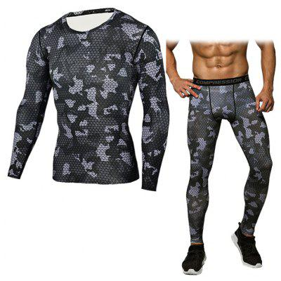 Buy BLACK M Men Grid T-shirt Compression Pants Fitness Training Suit for $24.98 in GearBest store