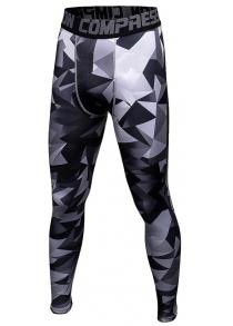 Male Triangle Camouflage Compression Long Training Pants