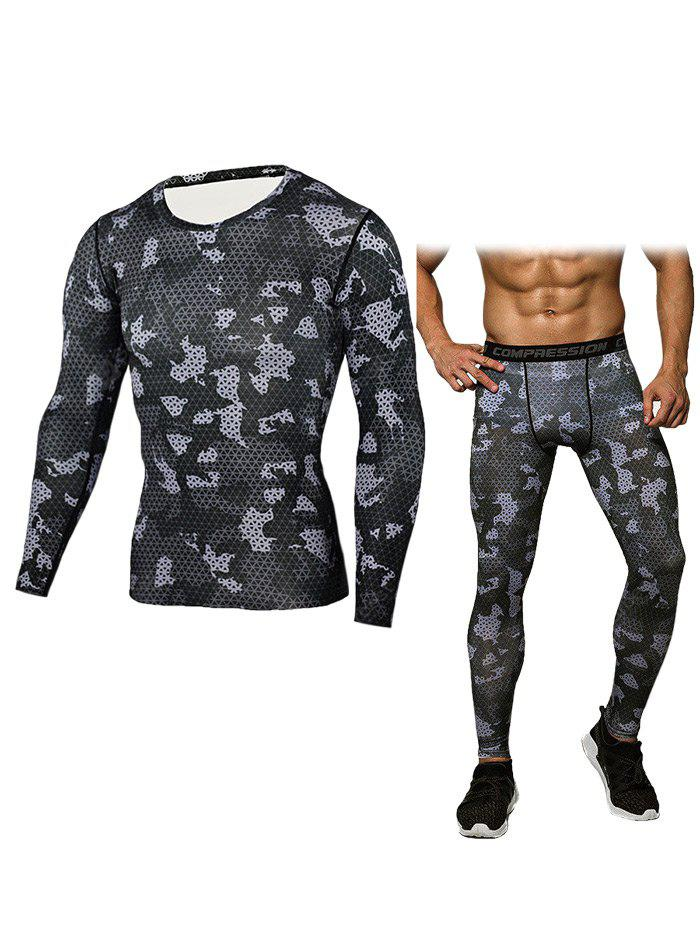 BLACK 3XL Men Grid T-shirt Compression Pants Fitness Training Suit