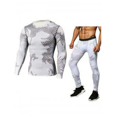 Male Grid T-shirt Compression Pants Fitness Training Suit