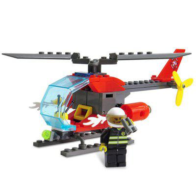 ABS 89pcs Firefighter Helicopter Building Block DIY Model