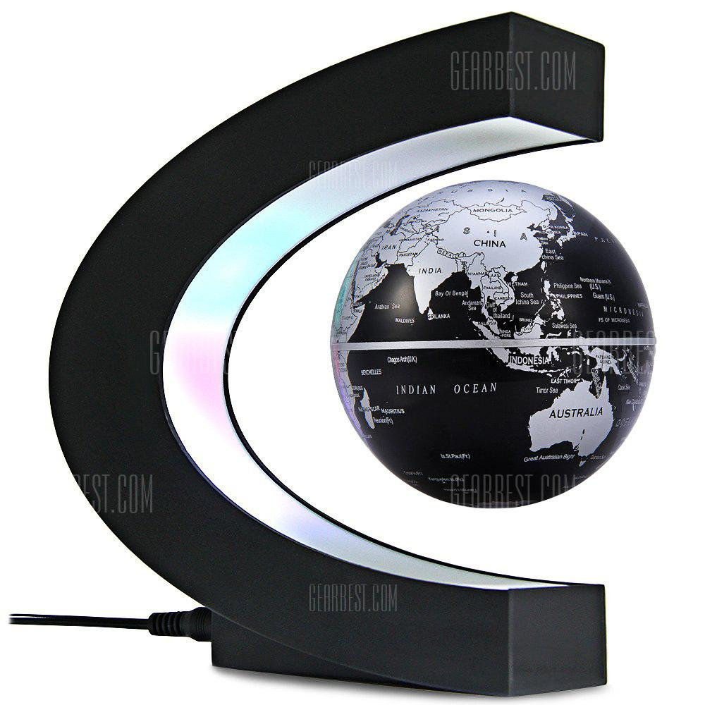C Shape Magnetic Levitation Floating Globe World Map with LED Light Decoration for Home Office - BLACK