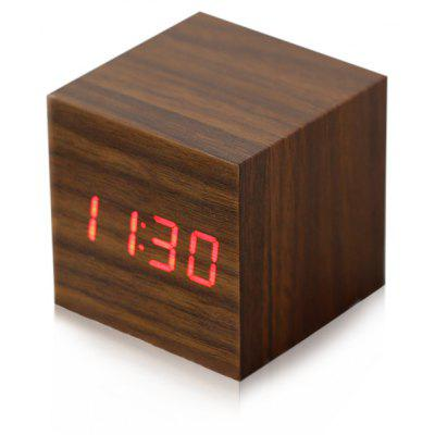 Gearbest Wooden Square Red LED Digital Alarm Clock