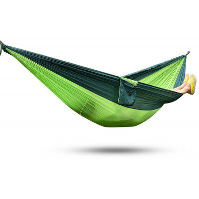 2 Person Assorted Color Parachute Nylon Fabric Hammock  -  BLACKISH GREEN AND APPLE GREEN