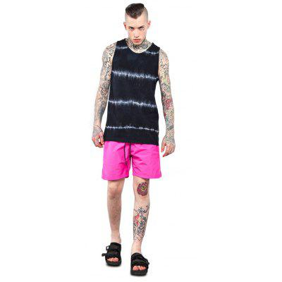 Male Tie-dyed Flash-print Cotton Sleeveless T-shirt