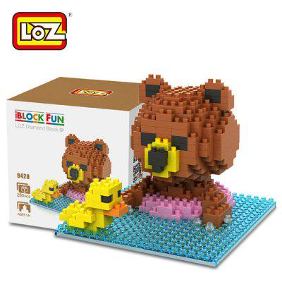 LOZ 280Pcs 9428 Brown Bear Swimming Building Block Toy for Enhancing Social Cooperation Ability