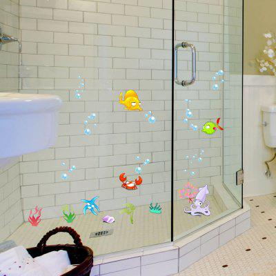 L001 Bathroom Shower Door Glass Sticker Cartoon Decal