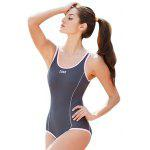 ZOKE Female Pure Color U-neck Jumpsuit Swimwear - GRAY