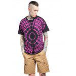 Male Tie-dyed Radial-pattern Cotton Short Sleeve T-shirt - RED