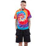 Male Tie-dyed Letter Spiral Pattern Cotton Short Sleeve T-shirt - RED