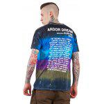 Male Tie-dyed Letter Pattern Gradient-color Short Sleeve T-shirt - BLUE AND BLACK