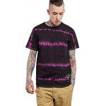 Male Tie-dyed Letter Pattern Cotton Short Sleeve T-shirt - PURPLE