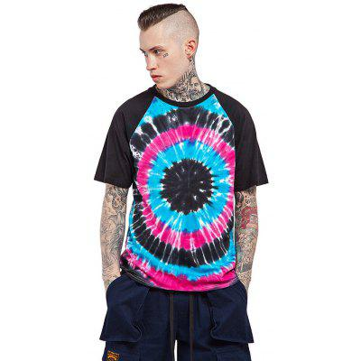 Male Cotton Tie-dyed Gradient-color Short Sleeve T-shirt