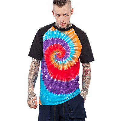 Male Tie-dyed Spiral Gradient-color Cotton Short Sleeve T-shirt