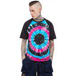 Male Cotton Tie-dyed Gradient-color Short Sleeve T-shirt - BLUE AND BLACK
