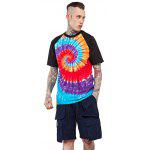 Male Tie-dyed Spiral Gradient-color Cotton Short Sleeve T-shirt - BLUE AND BLACK