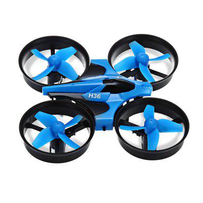 JJRC H36  Mini RC DroneRC Quadcopters<br>JJRC H36  Mini RC Drone<br><br>Battery: 3.7V 150mAh<br>Brand: JJRC<br>Built-in Gyro: 6 Axis Gyro<br>Channel: 4-Channels<br>Charging Time.: 30 - 50 minutes<br>Compatible with Additional Gimbal: No<br>Detailed Control Distance: 30m<br>Features: No camera, Radio Control, Brushed Version<br>Flying Time: 5~6mins<br>Functions: Up/down, Turn left/right, Speed up, One Key Automatic Return, Headless Mode, 3D rollover, Sideward flight<br>Kit Types: RTF<br>Level: Beginner Level<br>Model: H36<br>Model Power: 1 x Lithium battery(included)<br>Package Contents: 1 x RC Quadcopter, 1 x Transmitter, 1 x USB Cable, 4 x Spare Blade, 1 x English User Manual<br>Package size (L x W x H): 14.00 x 8.60 x 11.00 cm / 5.51 x 3.39 x 4.33 inches<br>Package weight: 0.2300 kg<br>Product size (L x W x H): 9.50 x 9.50 x 5.00 cm / 3.74 x 3.74 x 1.97 inches<br>Product weight: 0.0220 kg<br>Radio Mode: Mode 2 (Left-hand Throttle)<br>Remote Control: Radio Control<br>Size: Micro<br>Transmitter Power: 2 x 1.5V AA battery(not included)<br>Type: Quadcopter