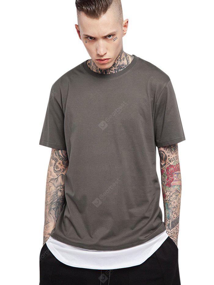 Splicing Arc Hem Long T Shirts DEEP GRAY M