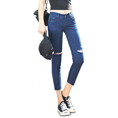 Buy DEEP BLUE Female Close-fitting Ninth Destroyed Pants Leisure Petite Jeans for $26.05 in GearBest store