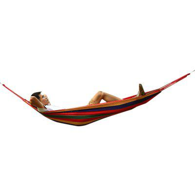 150kg Weight Load High Strength Canvas Material Hammock Camping Yard Hanging Bed with Carrying Bag for Outdoor Activities - Random Color Sent