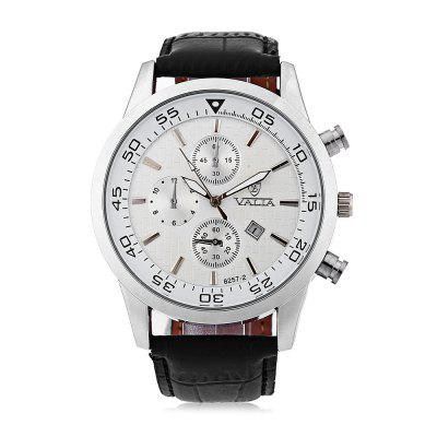Valia 8257 - 2 Analog Quartz Watch Date Leather Band Round Dial for MenMens Watches<br>Valia 8257 - 2 Analog Quartz Watch Date Leather Band Round Dial for Men<br><br>Available Color: Black,Brown,White<br>Band material: Leather<br>Brand: Valia<br>Case material: Stainless Steel<br>Clasp type: Pin buckle<br>Display type: Analog<br>Movement type: Quartz watch<br>Package Contents: 1 x Watch<br>Package size (L x W x H): 27.00 x 5.60 x 2.40 cm / 10.63 x 2.2 x 0.94 inches<br>Package weight: 0.1090 kg<br>Product size (L x W x H): 26.00 x 4.60 x 1.40 cm / 10.24 x 1.81 x 0.55 inches<br>Product weight: 0.0590 kg<br>Shape of the dial: Round<br>Special features: Date, Decorating small sub-dials<br>The band width: 2.2 cm / 0.87 inches<br>The dial diameter: 4.6 cm / 1.81 inches<br>The dial thickness: 1.4 cm / 0.55 inches<br>Watch style: Business<br>Watches categories: Male table
