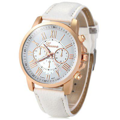 Geneva Bright Colors Leather Band Ladies Fashion Quartz Watch