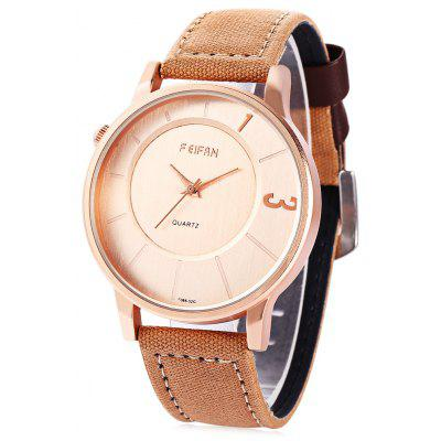 FEIFAN 62086G Unisex Quartz Watch Japan Movement Canvas Leather Band