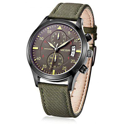MEGIR 2021 Canvas + Leather Band Men Japan Quartz Watch