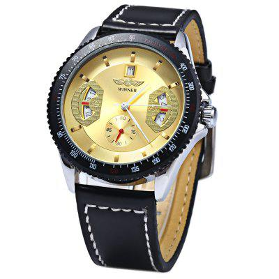 Winner Automatic Mechanical Male Watch Day Round Dial Leather Strap