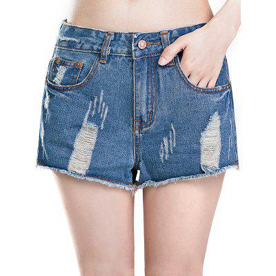Feminino Loose Destroyed Pants Leisure Short Baggy Jeans