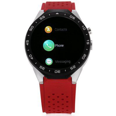 KingWear KW88 3G Smartwatch PhoneSmart Watch Phone<br>KingWear KW88 3G Smartwatch Phone<br><br>Additional Features: Notification, GPS, 2G, Bluetooth, Alarm, 3G, Wi-Fi<br>Battery: 400mAh Built-in<br>Bluetooth: Yes<br>Bluetooth Version: V4.0<br>Brand: KingWear<br>Camera type: Single camera<br>Cell Phone: 1<br>Compatible OS: Android<br>Cores: Quad Core<br>CPU: MTK6580<br>English Manual: 1<br>External Memory: Not Supported<br>Frequency: GSM 850/900/1800/1900MHz WCDMA 850/2100MHz<br>Front camera: 2.0MP (SW 5.0MP)<br>Functions: Pedometer<br>GPS: Yes<br>Languages: Indonesian, German, English, Spanish, French, Italian, Polish, Portuguese, Vietnamese, Turkish, Arabic, Persian, Hebrew,Russian, Hindi, Bengali, Thai, Burmese, Korean, Japanese<br>Music format: MP3<br>Network type: GSM+WCDMA<br>OS: Android 5.1<br>Package size: 11.50 x 11.50 x 9.00 cm / 4.53 x 4.53 x 3.54 inches<br>Package weight: 0.2750 kg<br>Picture format: PNG, JPEG, GIF<br>Product size: 5.50 x 4.70 x 1.40 cm / 2.17 x 1.85 x 0.55 inches<br>Product weight: 0.0650 kg<br>RAM: 512MB<br>ROM: 4GB<br>Screen Protector: 1<br>Screen type: Capacitive<br>Screwdriver: 1<br>SIM Card Slot: Single SIM<br>Speaker: Supported<br>Support 3G: Yes<br>Type: Watch Phone<br>USB Cable: 1<br>Video format: MP4<br>WIFI: 802.11b/g/n wireless internet