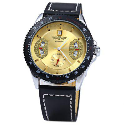 Winner Automatic Mechanical Male Watch Day Round Dial Leather StrapMens Watches<br>Winner Automatic Mechanical Male Watch Day Round Dial Leather Strap<br><br>Available Color: Black<br>Band color: Black<br>Band material: Leather<br>Brand: Winner<br>Case color: Black<br>Case material: Metal<br>Clasp type: Pin buckle<br>Display type: Analog<br>Movement type: Mechanical watch<br>Package Contents: 1 x Watch<br>Package size (L x W x H): 10.00 x 4.00 x 1.00 cm / 3.94 x 1.57 x 0.39 inches<br>Package weight: 0.1170 kg<br>Product size (L x W x H): 24.00 x 4.20 x 1.00 cm / 9.45 x 1.65 x 0.39 inches<br>Product weight: 0.0660 kg<br>Shape of the dial: Round<br>Special features: Calendar<br>The dial diameter: 4.2 cm<br>The dial thickness: 1.0 cm<br>Watch style: Casual<br>Watches categories: Male table