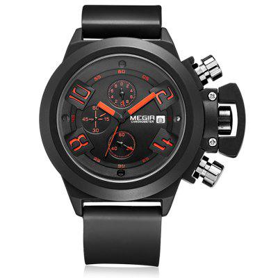 MEGIR 2002 Quartz Men Watch Three Working Sub-dialsMens Watches<br>MEGIR 2002 Quartz Men Watch Three Working Sub-dials<br><br>Available Color: Black,White<br>Band material: Silicone<br>Brand: MEGIR<br>Case material: Alloy<br>Clasp type: Pin buckle<br>Display type: Analog<br>Movement type: Quartz watch<br>Package Contents: 1 x Watch<br>Package size (L x W x H): 26.00 x 4.70 x 2.50 cm / 10.24 x 1.85 x 0.98 inches<br>Package weight: 0.1700 kg<br>Product size (L x W x H): 25.00 x 3.70 x 1.50 cm / 9.84 x 1.46 x 0.59 inches<br>Product weight: 0.1200 kg<br>Shape of the dial: Round<br>Special features: Date, Moving small three stitches<br>The dial diameter: 3.7 cm / 1.45 inches<br>The dial thickness: 1.5 cm / 0.59 inches<br>Watch style: Business<br>Watches categories: Male table<br>Water resistance: 30 meters