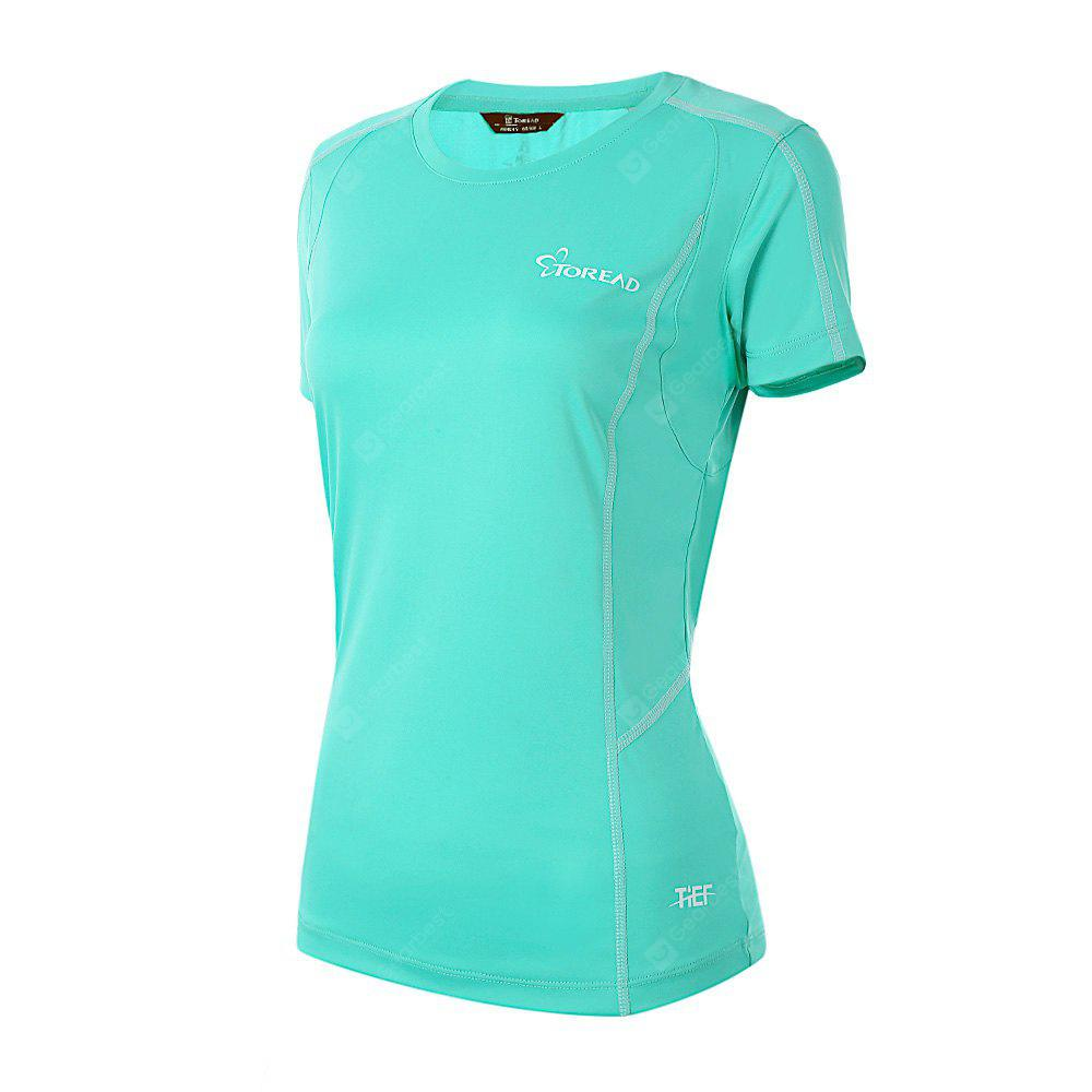 LIGHT BLUE TOREAD Female Fitness Running T-shirt Mesh Back Design