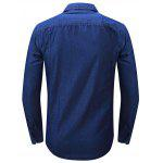 FREDD MARSHALL FM094 Male Casual Jeans Long Sleeve Shirt - DEEP BLUE